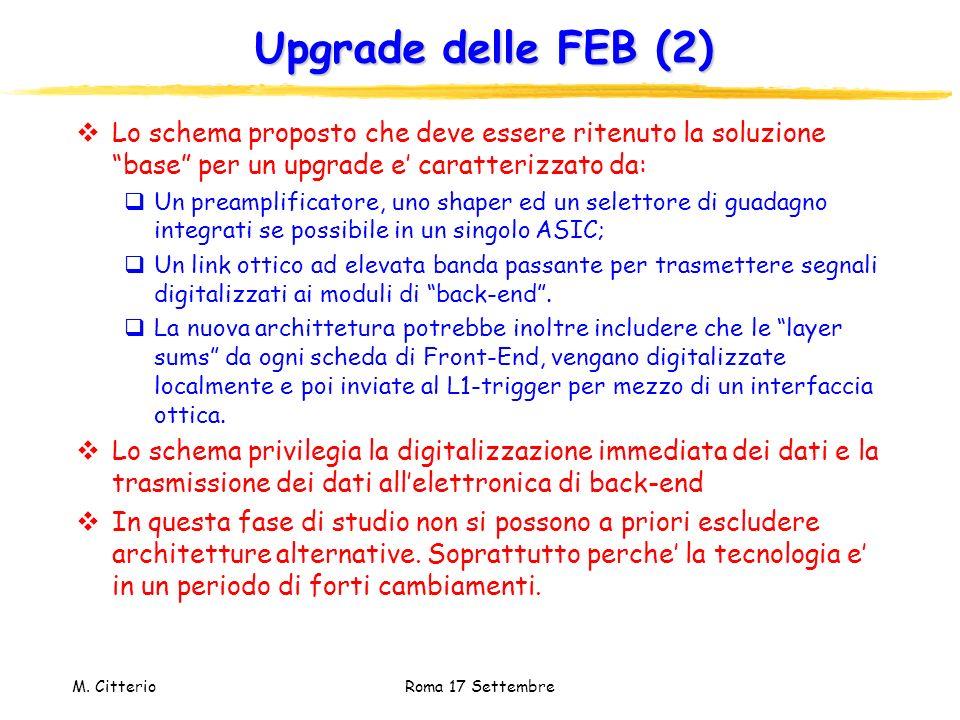 Upgrade delle FEB (2) Lo schema proposto che deve essere ritenuto la soluzione base per un upgrade e' caratterizzato da: