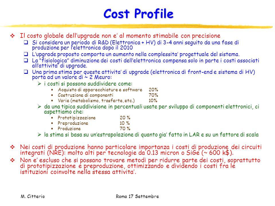 Cost Profile Il costo globale dell'upgrade non e' al momento stimabile con precisione.