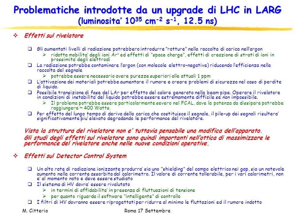 Problematiche introdotte da un upgrade di LHC in LARG (luminosita' 1035 cm-2 s-1, 12.5 ns)