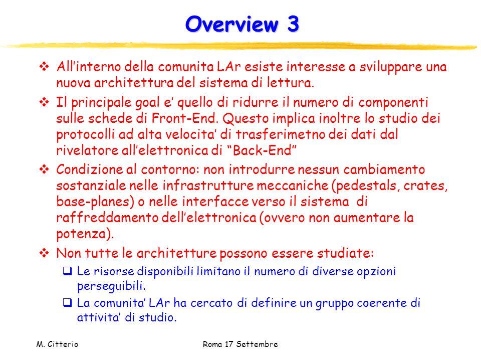 Overview 3 All'interno della comunita LAr esiste interesse a sviluppare una nuova architettura del sistema di lettura.