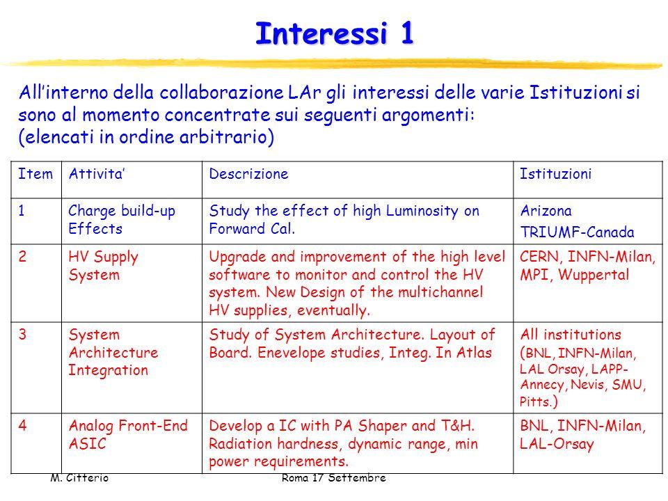 Interessi 1 All'interno della collaborazione LAr gli interessi delle varie Istituzioni si sono al momento concentrate sui seguenti argomenti: