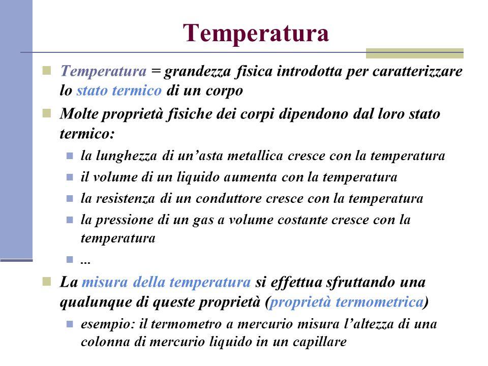 Temperatura Temperatura = grandezza fisica introdotta per caratterizzare lo stato termico di un corpo.