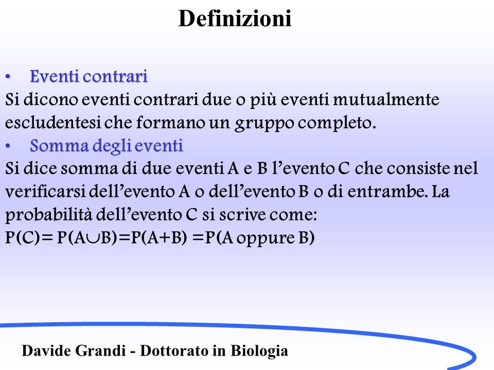 Definizioni Eventi contrari