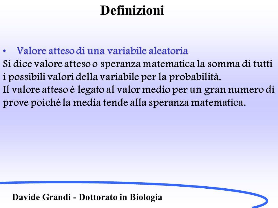 Definizioni Valore atteso di una variabile aleatoria