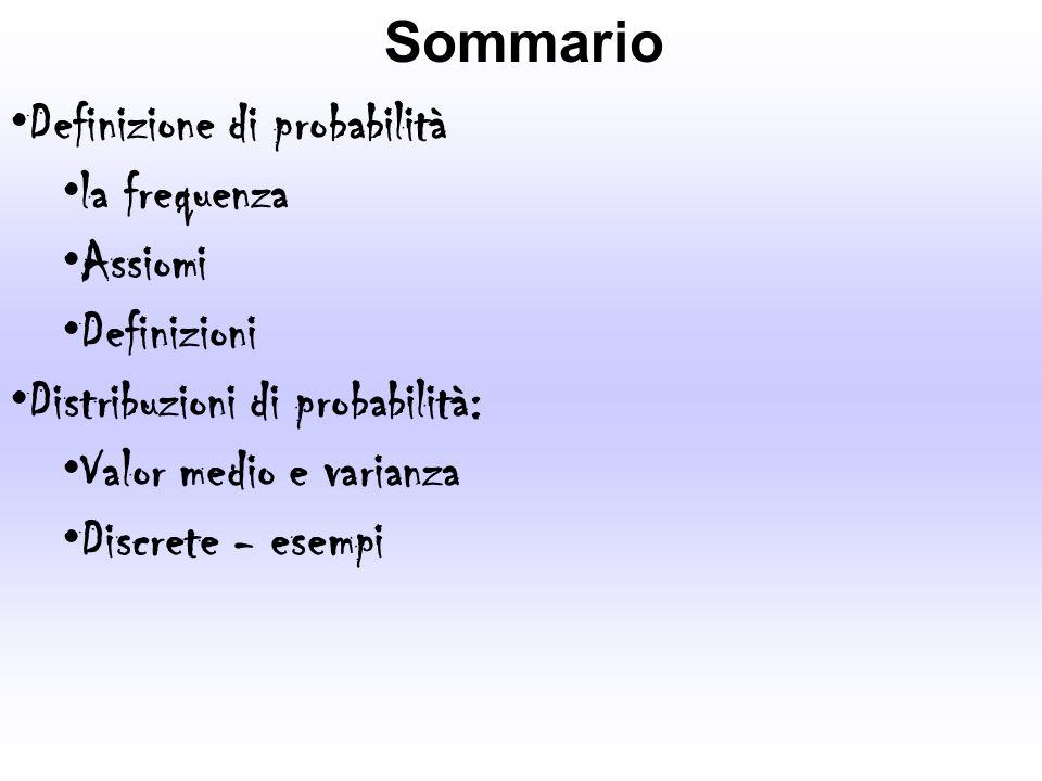 Sommario Definizione di probabilità. la frequenza. Assiomi. Definizioni. Distribuzioni di probabilità: