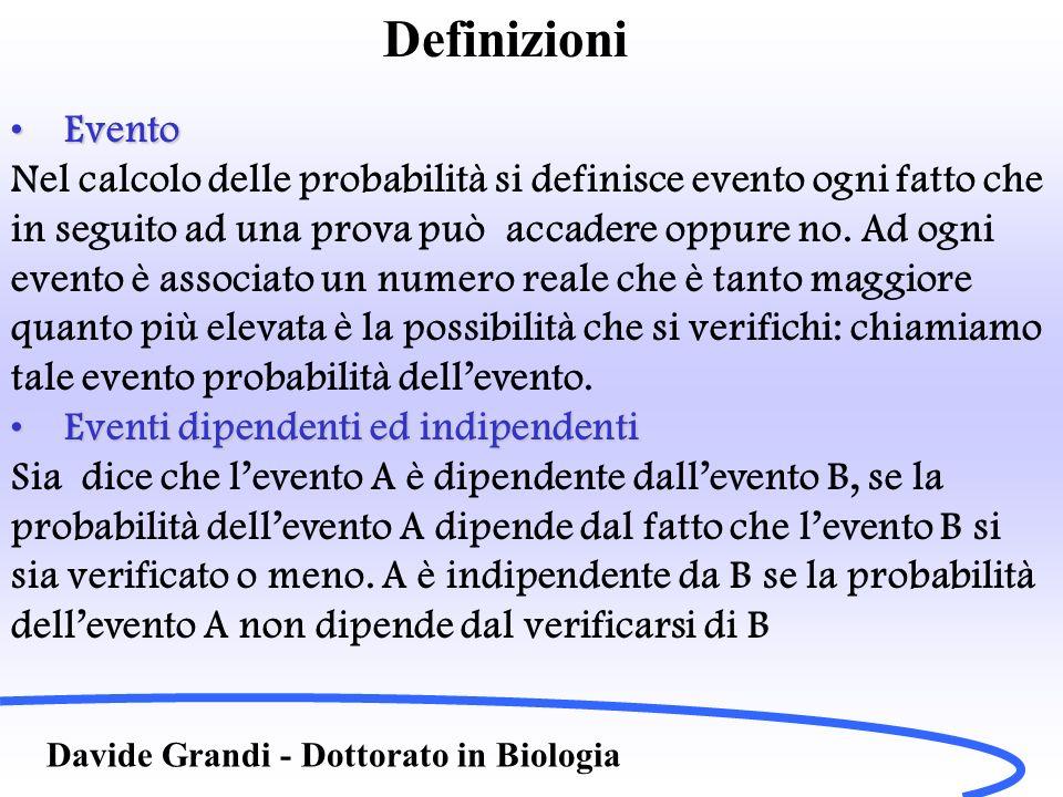 Definizioni Evento. Nel calcolo delle probabilità si definisce evento ogni fatto che. in seguito ad una prova può accadere oppure no. Ad ogni.