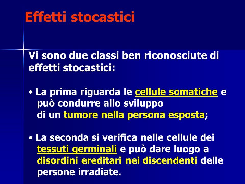 Effetti stocastici Vi sono due classi ben riconosciute di effetti stocastici: La prima riguarda le cellule somatiche e.