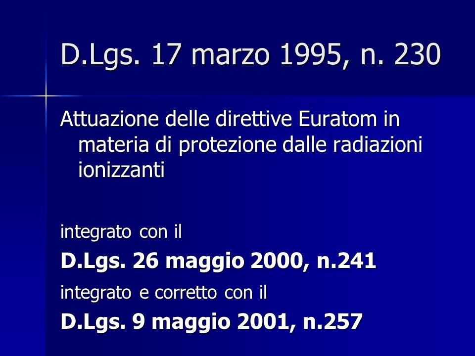 D.Lgs. 17 marzo 1995, n. 230 Attuazione delle direttive Euratom in materia di protezione dalle radiazioni ionizzanti.