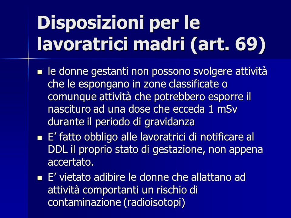 Disposizioni per le lavoratrici madri (art. 69)