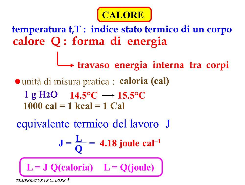 calore Q : forma di energia