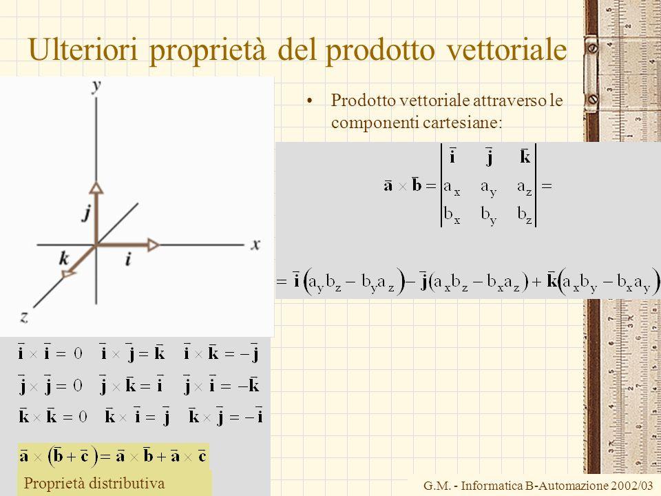 Ulteriori proprietà del prodotto vettoriale