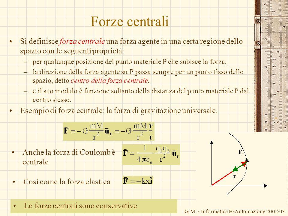 Forze centraliSi definisce forza centrale una forza agente in una certa regione dello spazio con le seguenti proprietà: