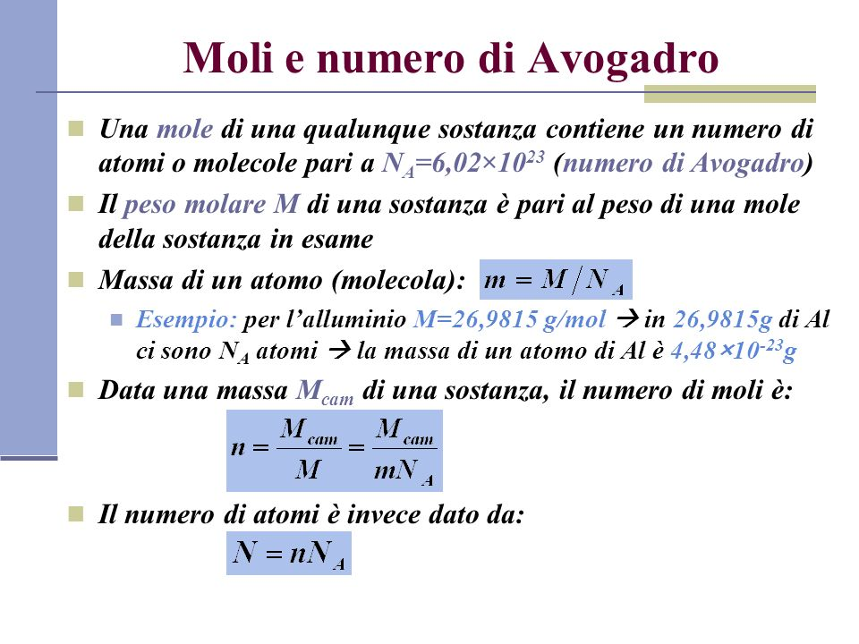 Moli e numero di Avogadro