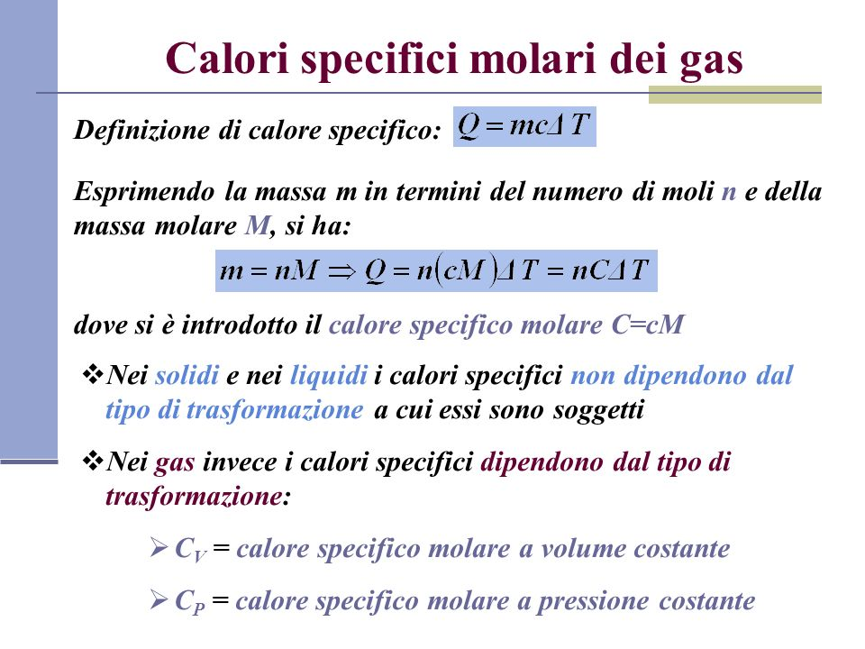 Calori specifici molari dei gas