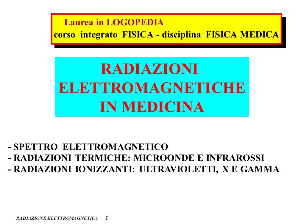 RADIAZIONI ELETTROMAGNETICHE IN MEDICINA