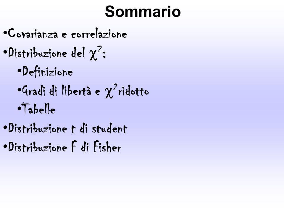 Sommario Covarianza e correlazione. Distribuzione del c2: Definizione. Gradi di libertà e c2ridotto.