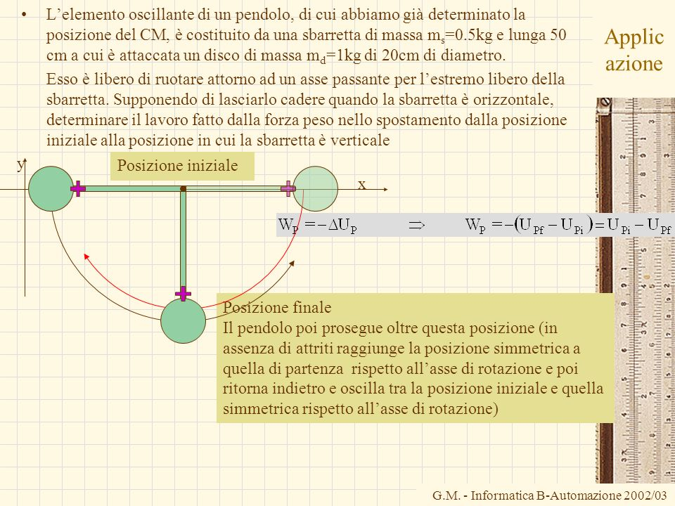 L'elemento oscillante di un pendolo, di cui abbiamo già determinato la posizione del CM, è costituito da una sbarretta di massa ms=0.5kg e lunga 50 cm a cui è attaccata un disco di massa md=1kg di 20cm di diametro.