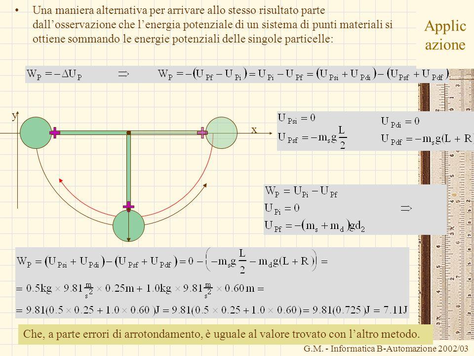 Una maniera alternativa per arrivare allo stesso risultato parte dall'osservazione che l'energia potenziale di un sistema di punti materiali si ottiene sommando le energie potenziali delle singole particelle: