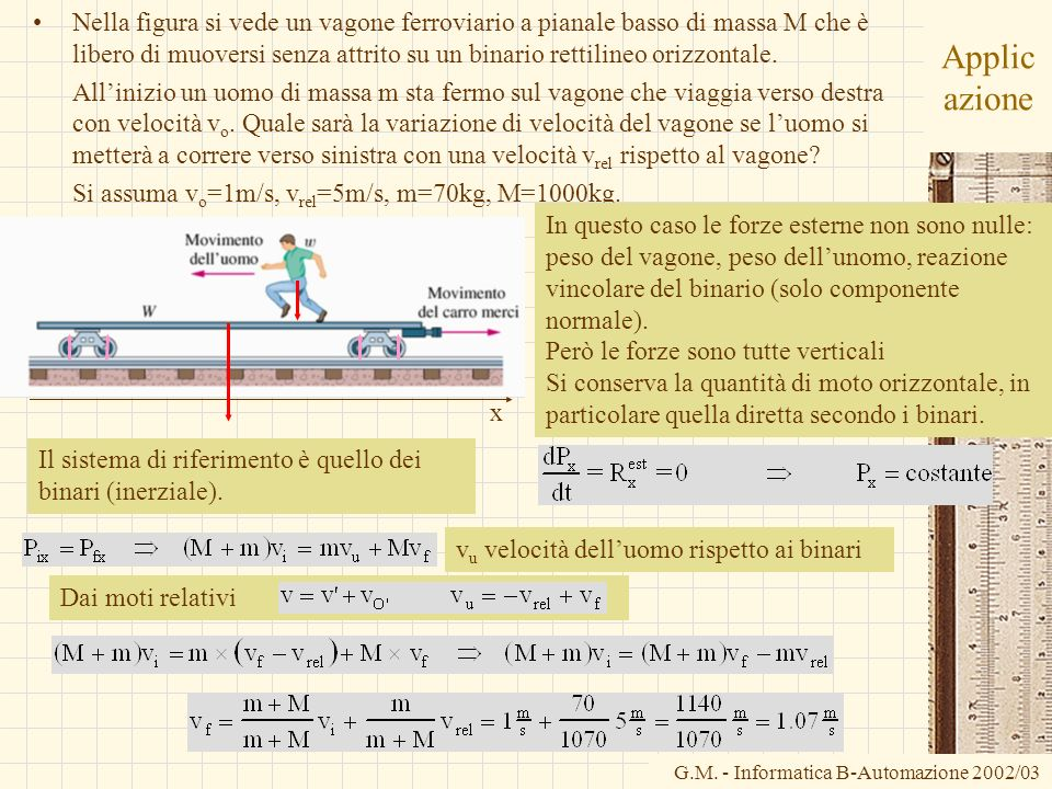 Nella figura si vede un vagone ferroviario a pianale basso di massa M che è libero di muoversi senza attrito su un binario rettilineo orizzontale.