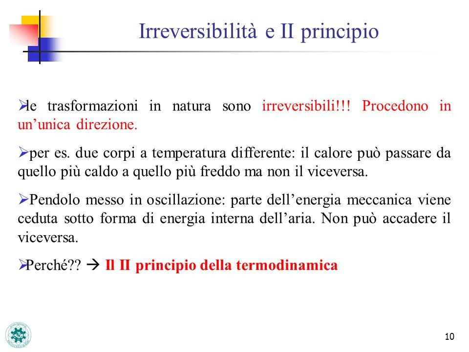 Irreversibilità e II principio