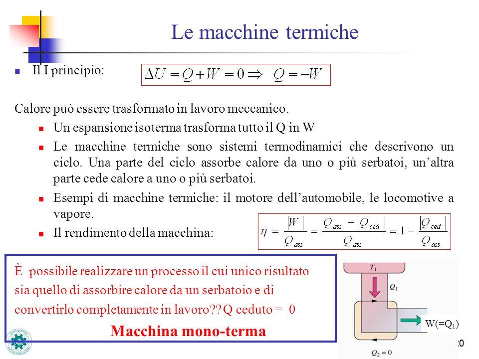 Le macchine termiche Il I principio:
