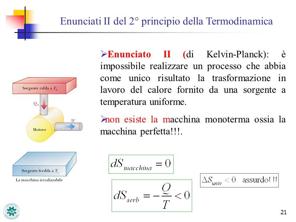 Enunciati II del 2° principio della Termodinamica