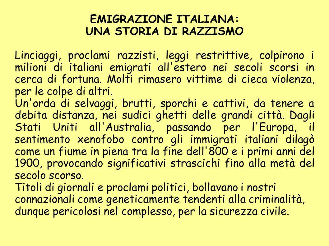 EMIGRAZIONE ITALIANA: