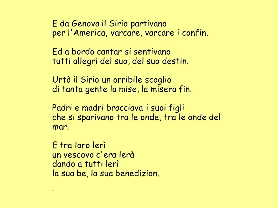 E da Genova il Sirio partivano