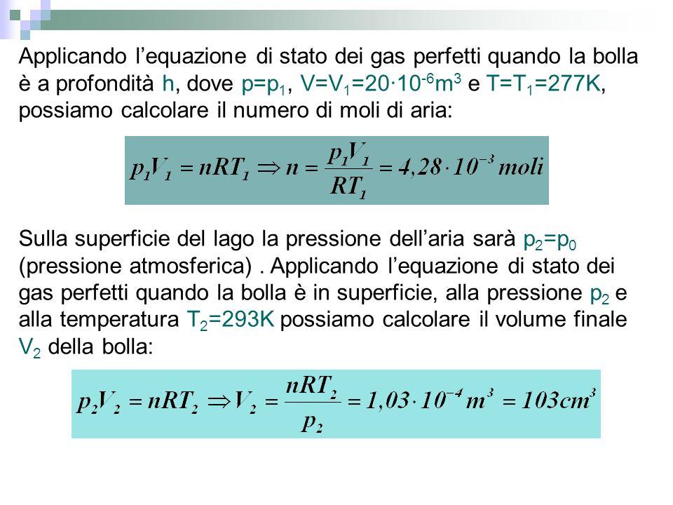 Applicando l'equazione di stato dei gas perfetti quando la bolla è a profondità h, dove p=p1, V=V1=20·10-6m3 e T=T1=277K, possiamo calcolare il numero di moli di aria: