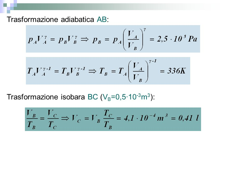 Trasformazione adiabatica AB: