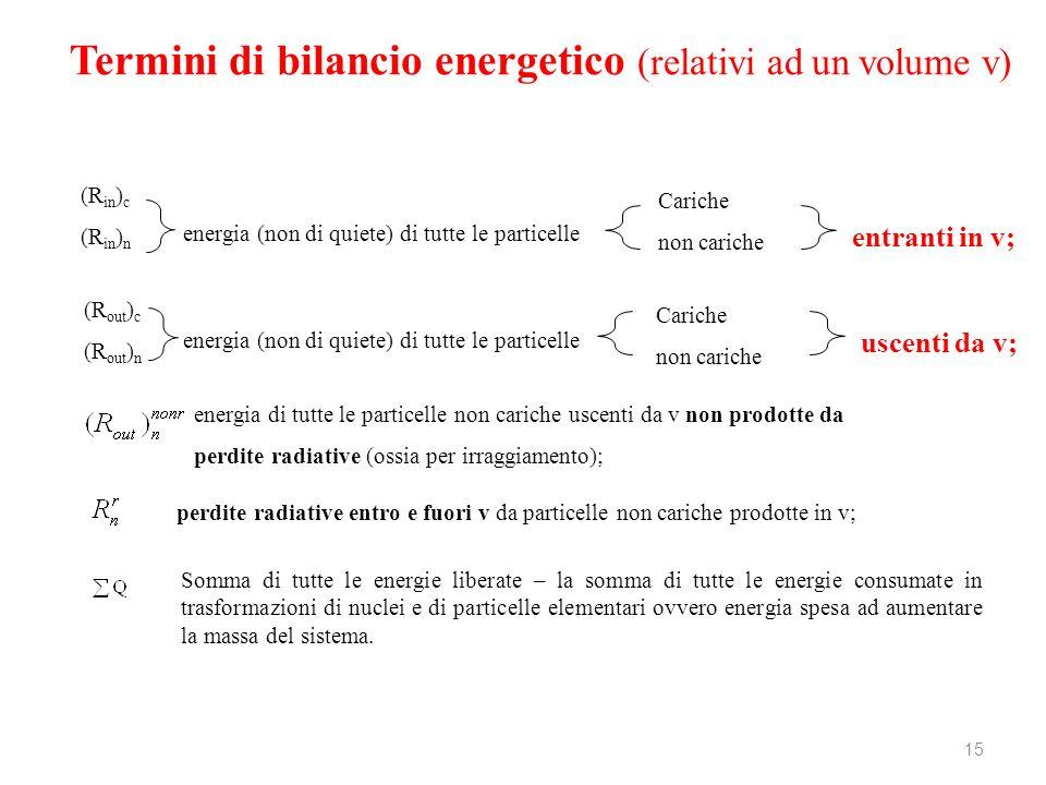 Termini di bilancio energetico (relativi ad un volume v)