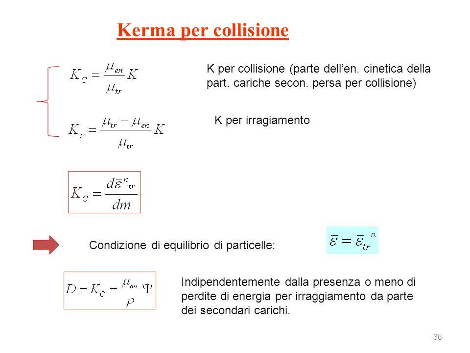 Kerma per collisione K per collisione (parte dell'en. cinetica della part. cariche secon. persa per collisione)