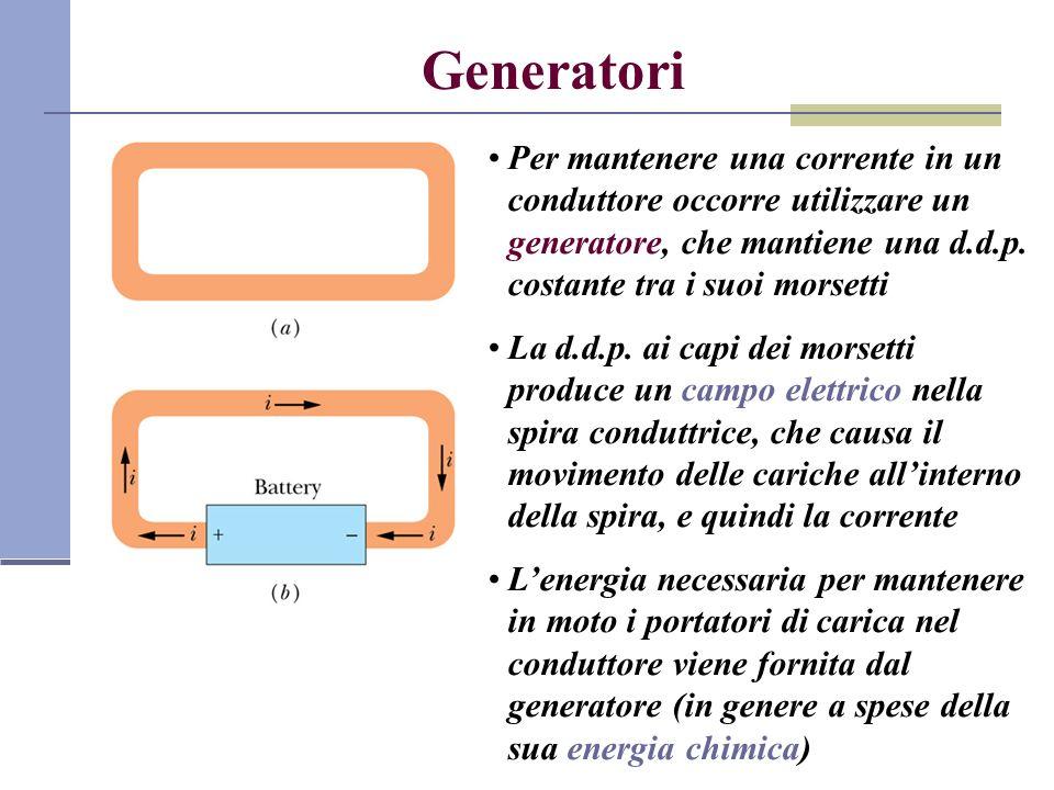 Generatori Per mantenere una corrente in un conduttore occorre utilizzare un generatore, che mantiene una d.d.p. costante tra i suoi morsetti.