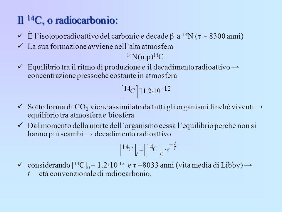 Il 14C, o radiocarbonio: È l'isotopo radioattivo del carbonio e decade β- a 14N (τ ~ 8300 anni) La sua formazione avviene nell'alta atmosfera.