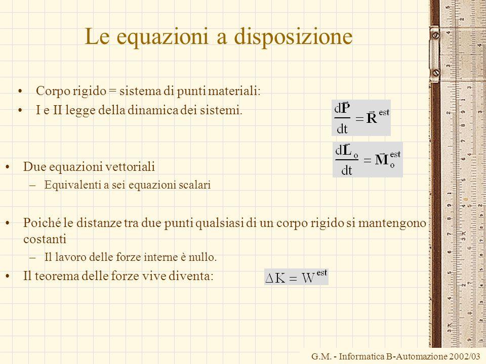 Le equazioni a disposizione