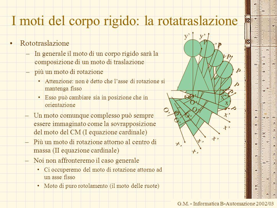 I moti del corpo rigido: la rotatraslazione