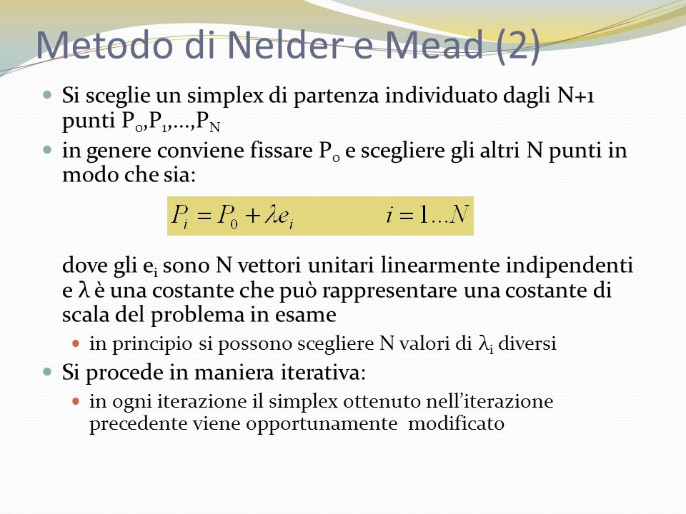Metodo di Nelder e Mead (2)