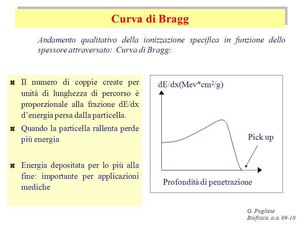 Curva di Bragg Andamento qualitativo della ionizzazione specifica in funzione dello spessore attraversato: Curva di Bragg: