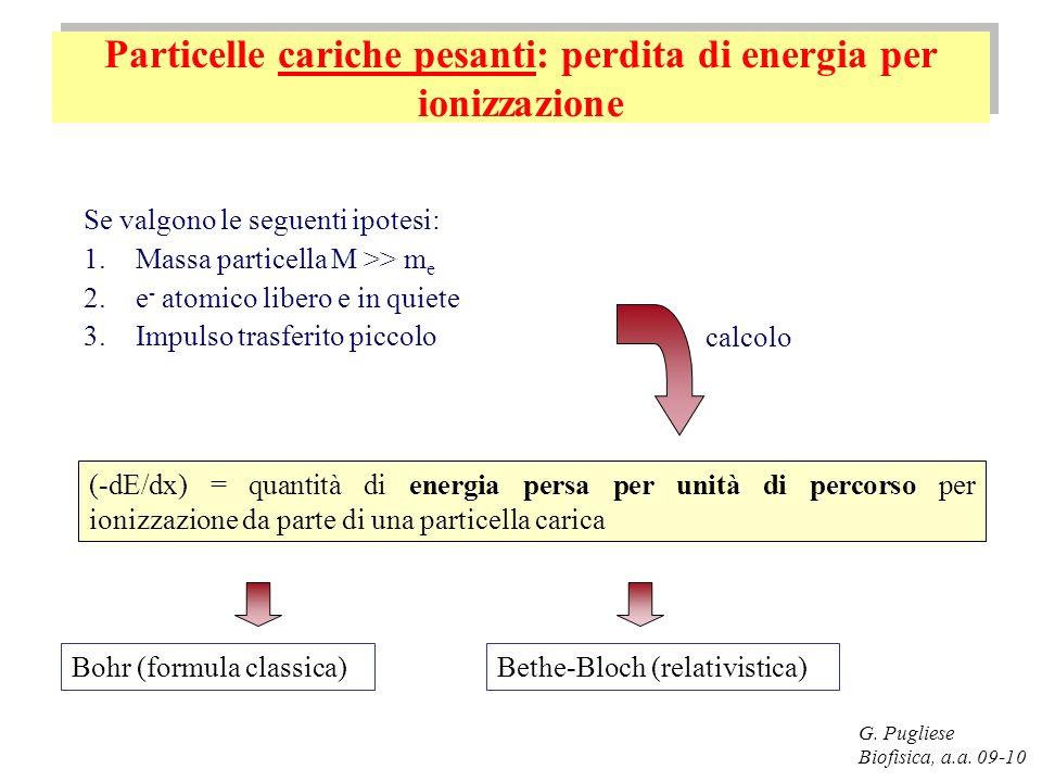 Particelle cariche pesanti: perdita di energia per ionizzazione