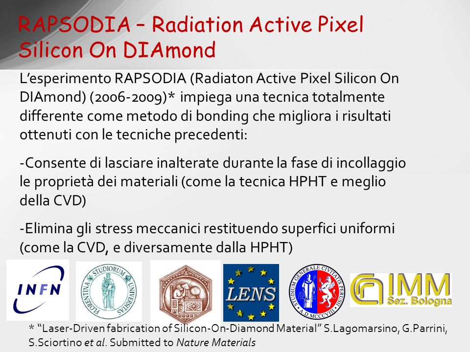 RAPSODIA – Radiation Active Pixel Silicon On DIAmond