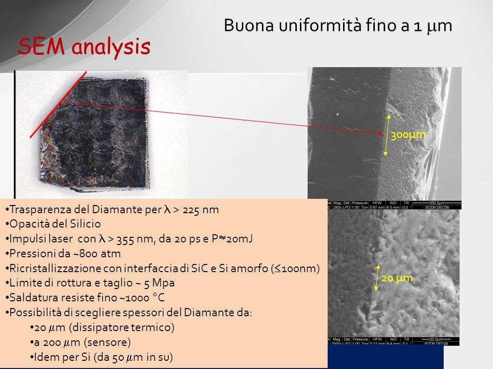 SEM analysis Buona uniformità fino a 1 m 300µm