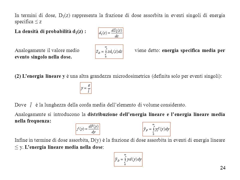 In termini di dose, D1(z) rappresenta la frazione di dose assorbita in eventi singoli di energia specifica ≤ z