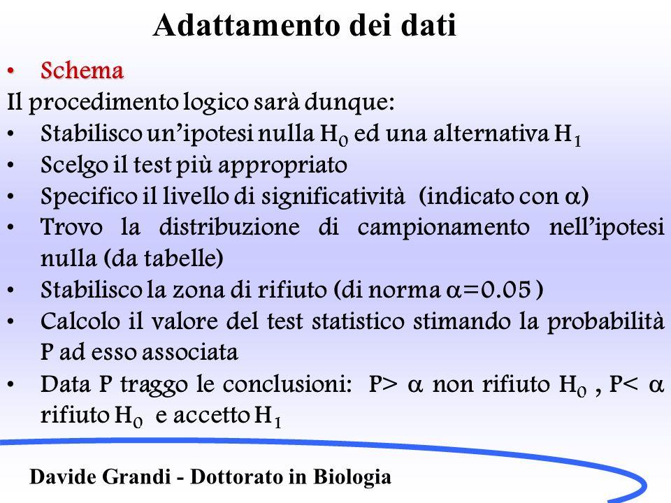 Adattamento dei dati Schema Il procedimento logico sarà dunque: