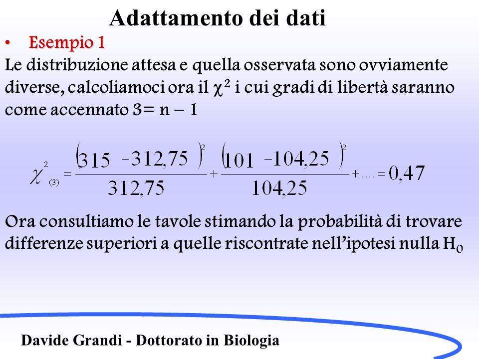 Adattamento dei dati Esempio 1