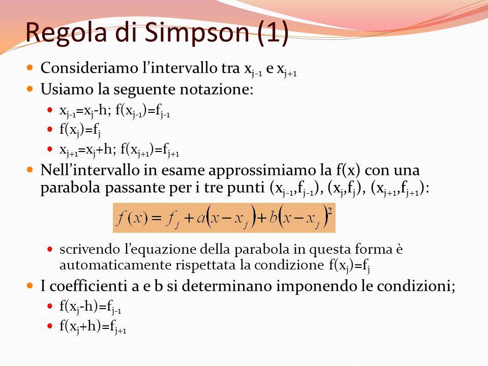 Regola di Simpson (1) Consideriamo l'intervallo tra xj-1 e xj+1