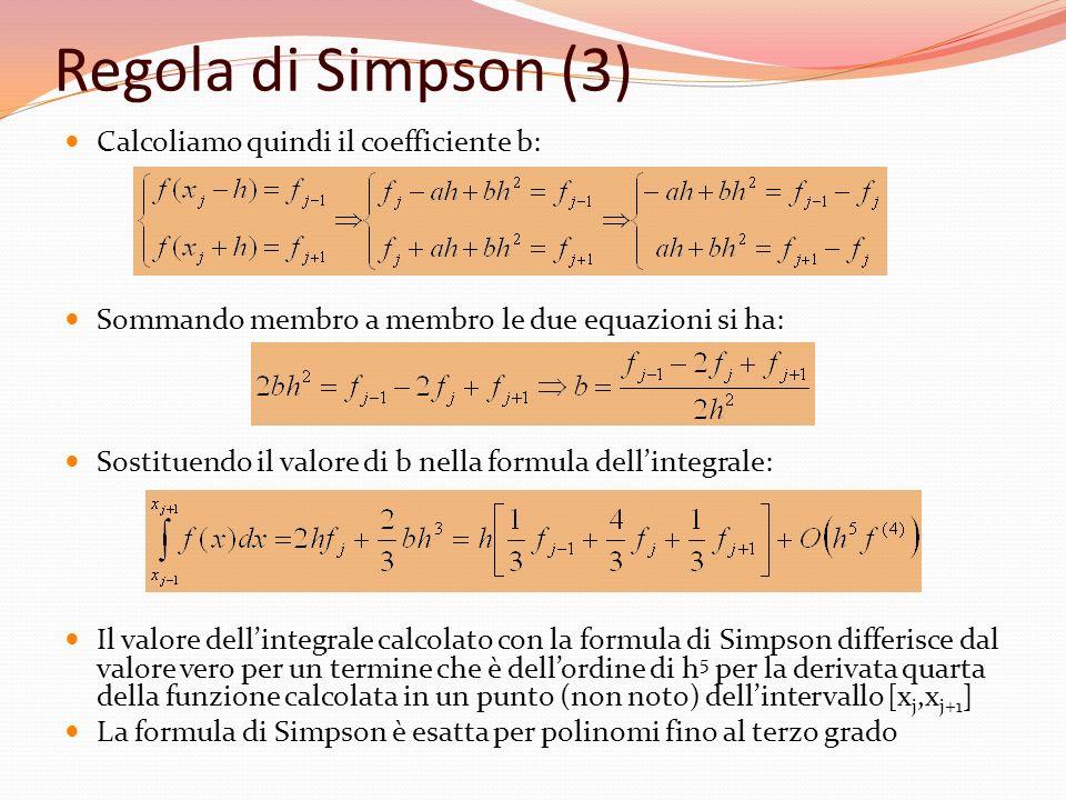 Regola di Simpson (3) Calcoliamo quindi il coefficiente b: