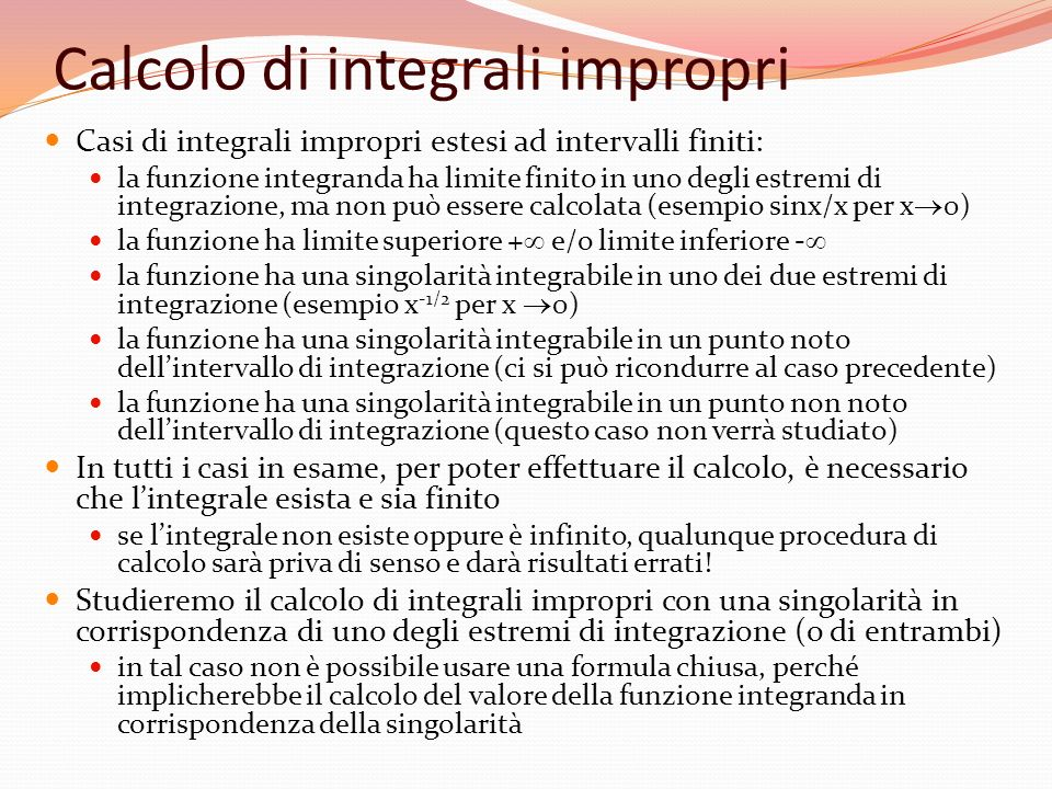 Calcolo di integrali impropri