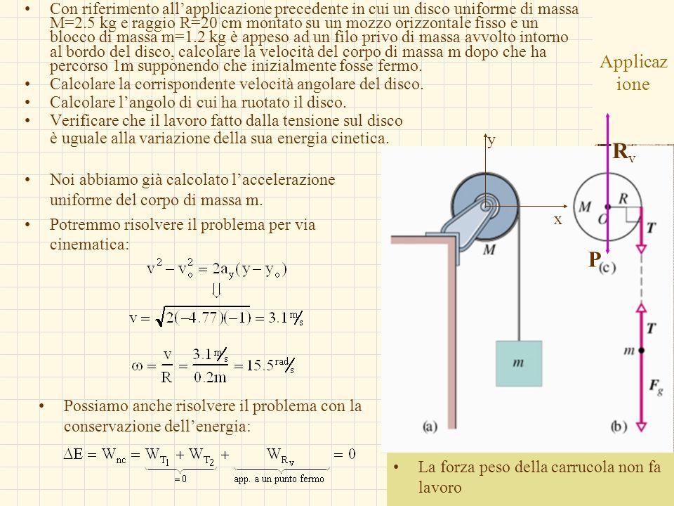 Con riferimento all'applicazione precedente in cui un disco uniforme di massa M=2.5 kg e raggio R=20 cm montato su un mozzo orizzontale fisso e un blocco di massa m=1.2 kg è appeso ad un filo privo di massa avvolto intorno al bordo del disco, calcolare la velocità del corpo di massa m dopo che ha percorso 1m supponendo che inizialmente fosse fermo.