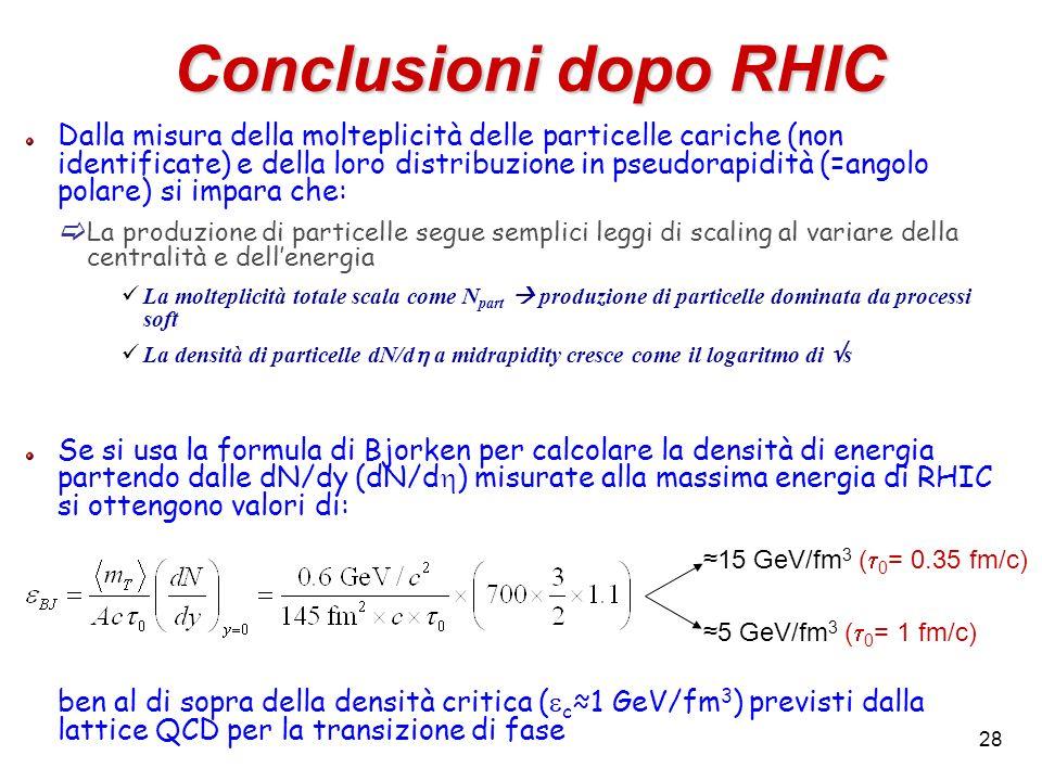 Conclusioni dopo RHIC