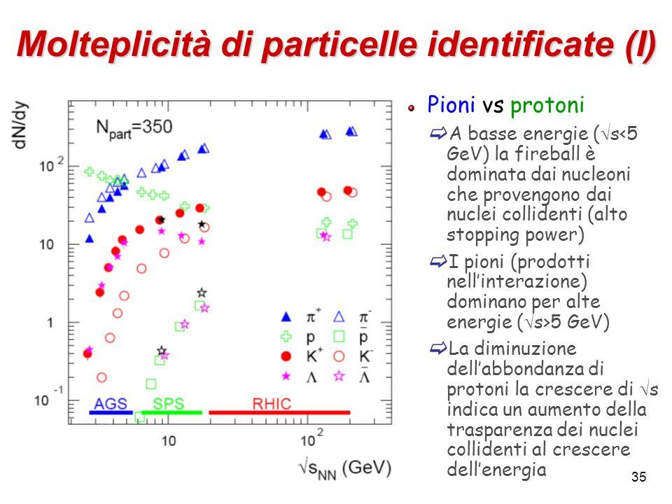 Molteplicità di particelle identificate (I)